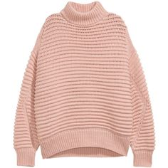 Knit Wool-blend Sweater $49.99 ($50) ❤ liked on Polyvore featuring tops, sweaters, h&m, h&m sweaters, long pink sweater, h&m tops, pink top and ribbed sweater