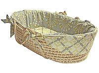 hoohobbers baby moses basket in the burst sterling design collection with tailored trim creates a sleek, stunning resting place full of wonderful bursts of very subtle yellow-toned colors on sterling gray