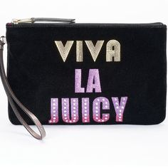 "COMING SOON NWT Juicy Couture Velour Wristlet! COMING SOON, ""like"" to be notified when it's available! NWT Juicy Couture ""Viva La Juicy"" velour wristlet! Add some excitement to your outfit with this Juicy Couture velour wristlet you can effortlessly take on-the-go.   PRODUCT FEATURES Sequined accents Fun graphic design PRODUCT DETAILS 6.75''H x 10.75''W x 0.5''D Wrist strap Zipper closure Interior: zip pocket Velour, faux leather Juicy Couture Bags Clutches & Wristlets"