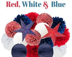 Red, White and Blue Hanging Party Decorations - Tissue Pom Poms and Paper Lantern Party Kit By Chrissy B - Two Sizes