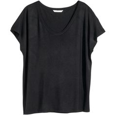 H&M Wide jersey top ($13) ❤ liked on Polyvore featuring tops, black, h&m, black top, jersey tops, drapey tops and h&m tops