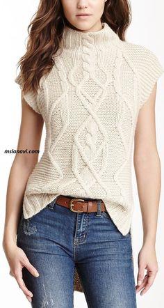 Knitting Inspiration - Cable Knit Hi-Lo Gilet Sweater - tejidos Knitting Stitches, Knitting Designs, Hand Knitting, Winter Sweaters, Cable Knit Sweaters, Sweaters For Women, Knit Fashion, Sweater Fashion, Fashion Wear