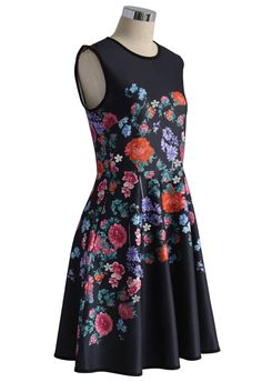 Floral Love Airy Sleeveless Flare Dress - Retro, Indie and Unique Fashion