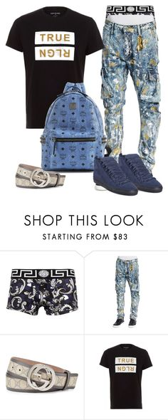 """#25"" by ebkkeef ❤ liked on Polyvore featuring Versace, Robin's Jean, Gucci, MCM and Balenciaga"