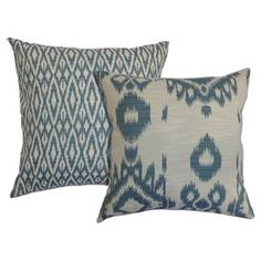 "Bring a pop of visual interest to your living room sofa or reading nook arm chair with these eye-catching cotton pillows, showcasing a concentric diamond motif paired with an exotic ikat print.   Product: Set of 2 pillowsConstruction Material: Cotton cover and 5/95 down fillColor: DenimFeatures:  Insert includedHidden zipper closureMade in the USAMade exclusively for Joss & Main Dimensions: 18"" x 18""Cleaning and Care: Spot clean recommended"