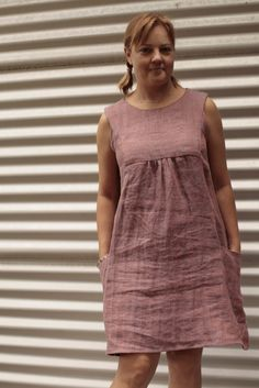 Lempo Bee: Painted Portrait Dress in linen...Anna Maria Horner