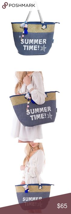 SUMMER TIME Beach Tote Bag Zipper Closure. 2 inner pockets. Strong handles. Made up of straw . Large . Light weight. Strap contains little pompom and tassels. Bags Travel Bags