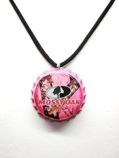 Mossy Oak Pink Camo Bottlecap Suede Black Necklace by sydni1999, $7.00