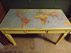 TheSmithGarage: Antique Italian Hand-Carved Desk CeCe Caldwell Carolina Sun Yellow