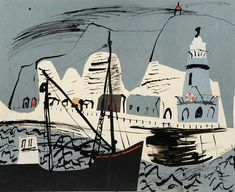 John Piper, Newhaven Harbour and Cliff, Sussex (SE collage and ink, 381 x Collection of Luke and Henry Piper © The Piper Estate / DACS/Artimage Photo: Luke Piper. Collages, Collage Art, John Piper Artist, Meer Illustration, John Minton, Newhaven, Landscape Art, Landscape Paintings, Printmaking