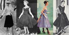 """Anos 50:  Período das revoluções comportamentais e tecnológicas da segunda metade. Com o fim dos anos de guerra e do racionamento de tecidos, a mulher dos anos 50 se tornou mais feminina e glamourosa, de acordo com a moda lançada pelo """"New Look"""" de Christian Dior, em 1947, e basicamente composta por saias amplas quase até os tornozelos, cinturas bem marcadas e ombros naturais."""