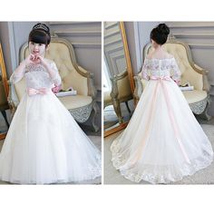 fd47ff91ac4 LP2695 Off the Shoulder Lace Flower Girl Dress Long Sleeves Little Girl  Wedding Gown first communion dress
