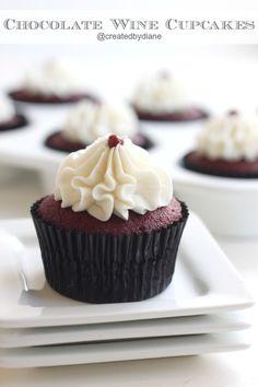 Chocolate Wine Cupcakes @createdbydiane