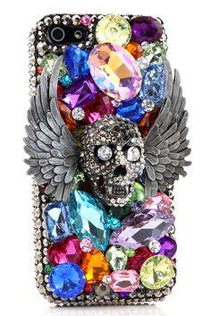 Vibrant Vampire Skull Design iPhone 5 5c 5s case bling glitter awesome protective vintage DIY