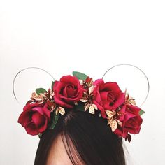 Belle of the Ball Flower Crown - Wire Minnie Ears inspired by Belle and Beauty and the Beast