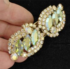 Exceptional Circa 1950 Jaykel Original Rhinestone Duette Clips Visit Our Store | eBay