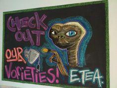 Coffee shop advertising.