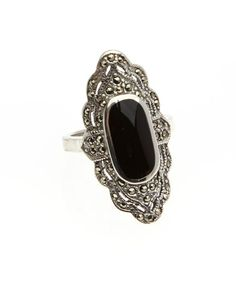 Loving this Sterling Silver & Black Marcasite Ring on #zulily! #zulilyfinds