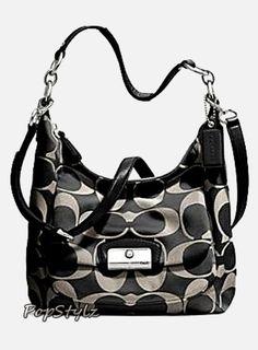 Coach Signature Black & White 22301 Handbag