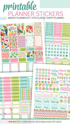 Happy Planner Tropical Planner Stickers Kit. This printable planner stickers come with cut files for use with Silhouette and Cricut.