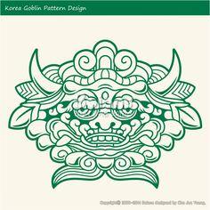 한국의 도깨비 문양 패턴디자인. 한국 전통문양 패턴 디자인 시리즈. (BPTD010017) Korea Goblin Pattern Design. Korean traditional Design Series. Copyrightⓒ2000-2014 Boians.com designed by Cho Joo Young.