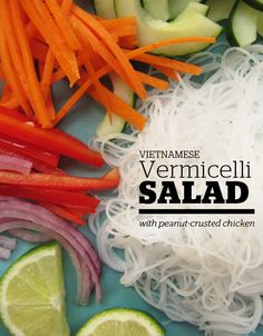 Vietnamese Vermicelli Salad with Peanut-Crusted Chicken