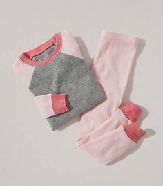 Colorblock Tee and Pant PJ Set: Color - Blossom