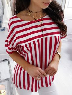 Style:Fashion Pattern Type:Striped Material:Polyester Neckline:O-neck Sleeve Style:Short Sleeve Decoration:Ruffles Length:Regular Occasion:Casual Package Note: There might be diff. Latest Fashion Clothes, Latest Fashion For Women, Style Fashion, Business Dress Code, Ruffles, Fashion Pattern, Matching Family Outfits, Loose Tops, Ruffle Sleeve