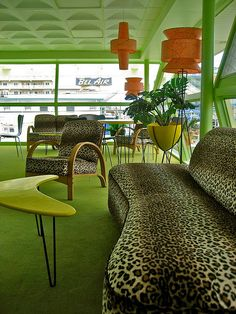 Carribbean motel, NJ.  I need to go to america even more now.  To stay here!  Look at the leopard print couch!!  The Lounge by Mod Betty / RetroRoadmap.com, via Flickr