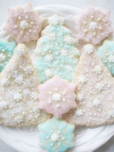 Winter Wonderland Snowflake, Christmas Tree, Sugar Crystal Frost, Christmas Cookies, Shabby Cottage Style  #pintowinGifts & @Gifts.com