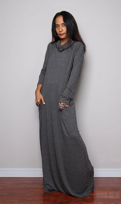 Grey Maxi Dress Cowl Turtle Neck Dress / Long Sleeve by Nuichan