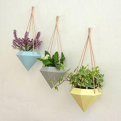 Diamond Hanging Planter - Set of three. From left: blue, grey, yellow.