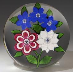 """Saint Louis {France} paperweight - Five Flower Bouquet, 1986, 3"""" x 2 1/8"""", 19 oz. - #0798"""