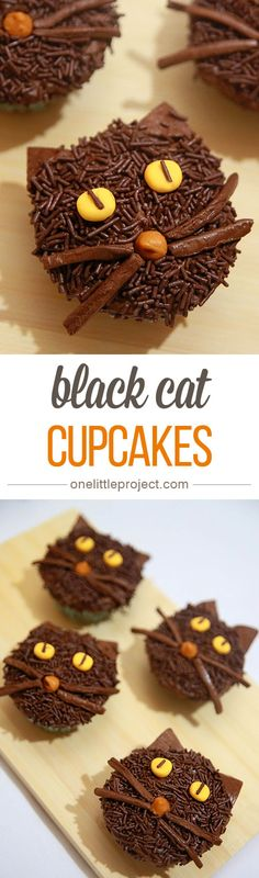 Black Cat Cupcakes by One Little Project