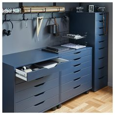 IKEA - ALEX, Drawer unit with 9 drawers, blue, High unit with many drawers means plenty of storage on minimum floor space. Drawer stops prevent the drawer from being pulled out too far. Ikea Bekant, Ikea Alex Drawers, Small Workspace, Ikea Workspace, Workspace Design, Ideas Para Organizar, Blue Furniture, Office Furniture, Drawer Unit