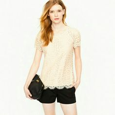 J.Crew Raindrop top. Gorgeous. Cream lace shirt. Short sleeve.  Hits at the hip. J. Crew Tops Tees - Short Sleeve