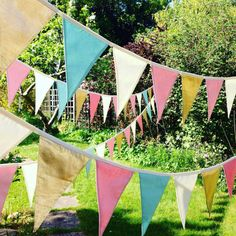 Handmade fabric bunting in the colours of your wedding/ parties.  Bunting is ideal for weddings - parties - home decoration-garden parties, etc.  The size of the flags is 18/20 cm with different options gaps left between the flags:  2 cm gap between the flags- £6 per meter  9 cm gap left between the flags- £5 per meter  18 cm gap left between the flags- £4 per meter  Please select the length of the bunting and the gabs between the flags from the drop down menu before placing your order. All…