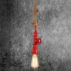 Kreatívne lanové závesné svietidlo v tvare priemyselného potrubia v červenej farbe Light Bulb, Lamps, Led, Lighting, Home Decor, Cluster Pendant Light, Lightbulbs, Decoration Home, Room Decor