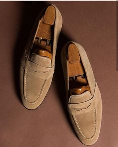 Handmade Men's Suede Penny Loafers Shoes, Men's Beige Moccasin Slip On Shoes sold by The Leather Souq. Shop more products from The Leather Souq on Storenvy, the home of independent small businesses all over the world. Suede Leather Shoes, Leather Men, Soft Leather, Loafer Shoes, Loafers Men, Formal Shoes For Men, Men Formal, Penny Loafers, Soft Suede