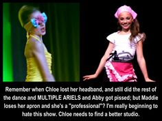 I actually still like this show. I personally LOVE chloe more then maddie don't get me wrong maddie is a very good dancer but I think she needs to share the spotlight.