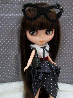 Blythe cat glasses Black polka dot  Boutique by BlytheBerryGirl, ฿550.00