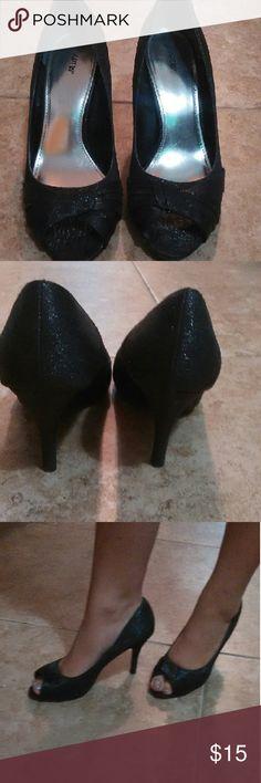 Shoes Black shimmery peep toe heels, APT. 9 Apt. 9 Shoes Heels