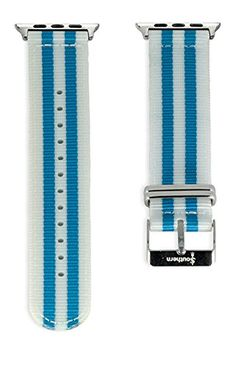 Apple Watch NATO Band - White & Blue Woven Nylon Band (42mm Gold). The original NATO strap designed for your smartwatch: Apple Watch, Android Wear & Pebble. Woven, double layered and heat sealed ballistic nylon - it comes with a Lifetime Warranty. Patent Pending design using quick-release pins.