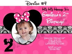Minnie Mouse Damask Dots Birthday Party Photo Invitations - Printable | BLiTzDesignz - Digital Art on ArtFire
