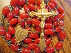 VINTAGE CORAL & BRASS  CATHOLIC ROSARY IHS RELIGIOUS MEDAL LOT # 27B    eBay