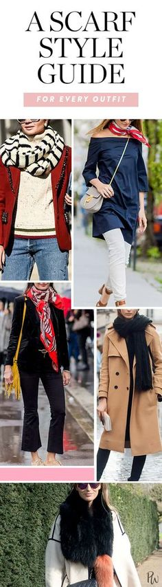 Save this scarf style guide to help you put together all of your on-trend fall and winter outfits. #falloutfitideas #falloutfits #winteroutfitideas #winteroutfits #howtowearscarves #scarfoutfitideas #fallscarves #winterscarves