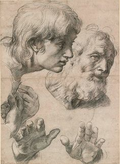 Raphael's Studies of Two Apostles for the Transfiguration