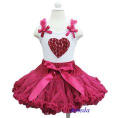 Girls Red Wine Pettiskirt 3D Rosettes Ruby Heart White Tank Top Party Dress 1-7Y #New