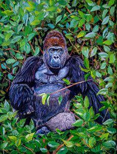 Gorilla Attitude Original Oil Painting 18x24x1.5 in on gallery canvas #Gorilla #Wildlife #oilpainting #Art #Africa #jungle #painting
