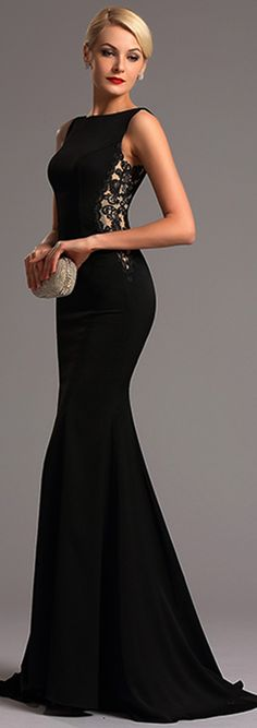 Sleeveless Side Lace Illusion Black Evening Dress Formal Gown